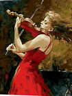 Girl In Red Playing Violin Needlepoint Canvas 319