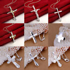 Fashion Unisex Silver Plated Stainless Steel Cross Necklace Pendant Jewelry Gift