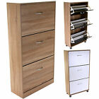 Shoe Storage Cabinet Rack Unit 3 Drawer Cupboard Wooden Furniture Footwear Stand