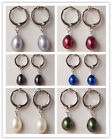 6Color 7-8mm Freshwater Pearl Gray Blue Black White Green Red Rice Dangle Earrin