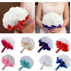 Vintage Crystal Bridal Wedding Bouquet Silk Flower Bridesmaid Foam Brooch Decor