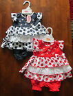 BABY GIRLS DRESS SUMMER CLOTHING SET NAVY RED SPOTTY FRILLY DRESSES OUTFIT NEW