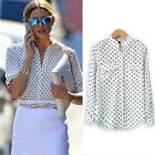 Women Camisas Polka Dot Printing Tops White Blouse Long Sleeve Casual Shirt BZZ