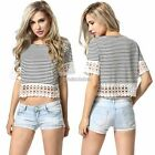 Sexy Women Lace Crochet Striped Hollow Loose T Shirt Shirt Crop Tops Blouse N98B