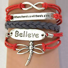 Women's Bracelet Heart Believe Love Dragonfly Infinity Braid Bracelet Sanwood