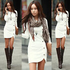 Plus Size Womens Long Sleeve Casual Bodycon Evening Party Shirt Short Mini Dress