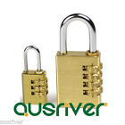 2× Solid Brass Combination Lock Luggage Travel Password Padlock 3/4 Dials New