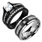 His & Hers TITANIUM Black Stainless Steel Princess Cut Wedding Ring Band Set