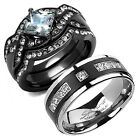 4 Piece His Titanium Hers Stainless Steel Matching Black Silver Wedding Ring Set