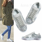 AnnaKastle New Womens Silver Glitter Star Low Top Fashion Sneakers US 5 6 7 8