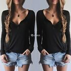 Women Tops Pullover V-Neck Long Sleeve Button Sexy Sweater Solid Casual Shirt