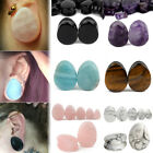 Pair Of Teardrop Amethyst Natural Stone Ear Tunnels Plugs Gauges Double Flare