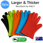 Silicone BBQ Gloves Pair: Kitchen Oven Mitts Non Stick Pot Heat Proof Resistant