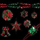 Christmas Foil Ceiling Decorations Garlands Stars Snowflakes – Green & Red