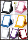 Portable Handheld Mirrors Beauty PU Leather Makeup Compact Folding Table Mirror