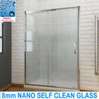 shower enclosure with sliding door and tray Free Waste 8mm NANO self clean glass