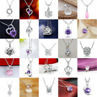 Fashion Women Pendant Jewelry Heart 925 Sterling Silver Plated Necklace Chain