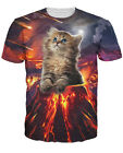 New Fashion Womens/Mens Cute Kitten Volcano Funny 3D Print T-Shirt US16