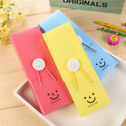 Candy Color Elastic Smile Face Pencil Writting Case Stationery Pen Bag New