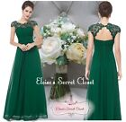 KATIE Emerald Green Lace Full Length Prom Evening Cruise Ballgown Dress 8 - 20