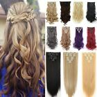 Double Thick Full Head Weft Real as remy human Hair Extensions 18Clips in on Q72