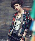 New Womens Embroidery Ethnic Coat Short Jacket Ladies 3/4 Sleeve Outerwear Coats