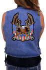 Ladies Denim Vest With Patriotic Eagle, American Flags In God We Trust Patch