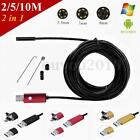 2/5/10M 6 LED 2in1 USB Endoscope Borescope HD Inspection Camera Android PC New