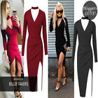 Womens Sexy Choker Neck Wrap Over Drape Bodycon Party Asymmetric Ladies Dress