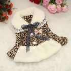 Baby With Bow Warm Jacket Toddlers Girl Leopard Fur Fleece Lined Coat Winter