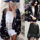 Women Floral Tassels Fringe Loose Blouse Kimono Jacket Cardigan Tops Cover Ups