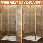 Frameless Bifold Shower Door Enclosure Side Panel And Tray 6mm Glass Screen