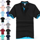 Men's New Fashion Short Sleeve Polo Collar Work T-shirt Cotton Shirt Uniform Top
