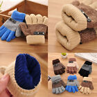 Внешний вид - Boys Children Warm Knitted Gloves Winter Thick Full Mitten Finger Protector