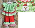 Smocked A Lot Christmas Santa Red Green Polka Dot Gingham Ruffle Pants Set Dress