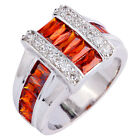 New Fashion Jewelry Garnet White Gemstone Women's Silver Ring US Size 7 8 9 10