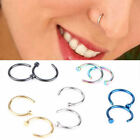 5x Nose Ring Piercing Septum Clicker Jewelry Crystal Steel Body Fake Clip Charms