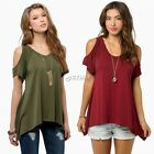 Hot! Women Loose Sexy Off Shoulder Short Sleeve Stretch T-Shirt Blouse Tops DZ88