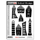 Darkroom Door Cling Mounted Rubber Art Stamps - Carved Houses DDRS130