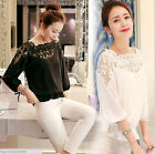 Elegant Women's Summer Loose Casual Chiffon Long Sleeve Lace T Shirt Tops Blouse