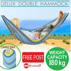 Hammock Double Swing Outdoor Camping Hanging Swinging Cotton Blue Yellow Stripe