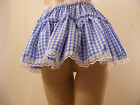 "SISSY ADULT BABY FANCY DRESS BLUE GINGHAM MICRO MINI SKIRT 11""LONG, ALL SIZES"
