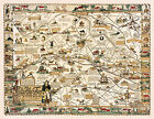 Pictorial Historical Map Main Line Philadelphia Genealogy Wall Art Poster Decor