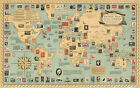 Pictorial Philatelic Institute's Stamp Map of the world Vintage Poster Wall Art