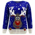 New Womens Mens Reindeer Star Christmas Knitted Jumper Unisex Novelty Sweater