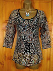 NEW MONSOON LADIES BLACK FLORAL PAISLEY BLOUSE & CAMISOLE TWINSET TOP UK SIZE 10