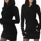 New Women Ladies Casual Hooded Bodycon Long Sleeve Sweatshirt Mini Pencil Dress