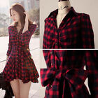 Fashion Women Dress Plaids Blouse Long Sleeve Swing Hem Dress Shirt Dress WLS