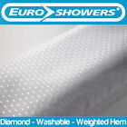 Euroshowers | White Diamond Fabric Shower Curtain Weighted Large Wide Long Short