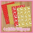 WPS14 red gold reindeer christmas themed 4 x A4 sheets edible wallpaper